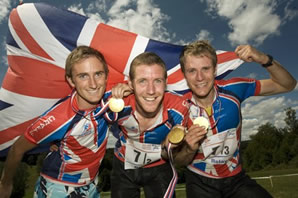 Graham Gristwood, Jon Duncan and Jamie Stevenson won Gold in the Relay at the 2008 World Champs. (Credit: Soren Anderson)
